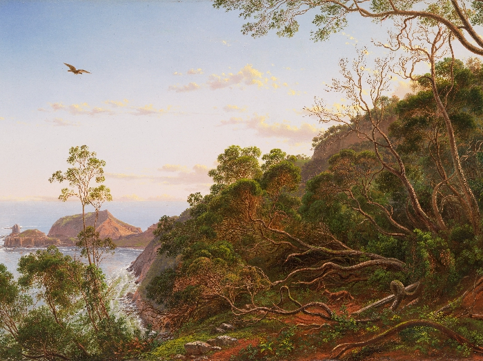 """Tea Trees near Cape Schanck, Victoria"" by Eugene von GUERARD (1865)油絵"