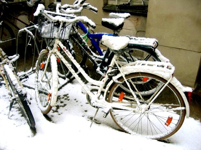 雪の中でも自転車