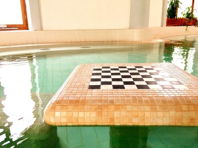 浴槽の中にチェス盤も