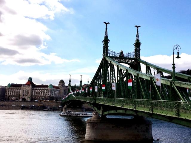 両端に国旗がたなびくドナウ川の自由橋
